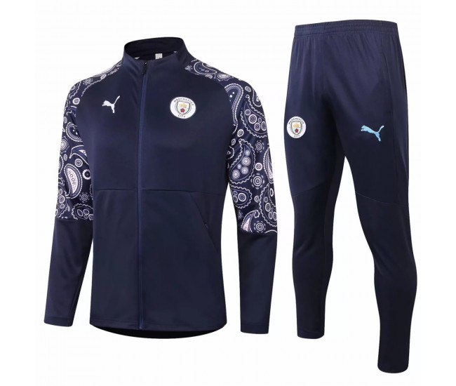 Manchester City Training Presentation Soccer Tracksuit 2020 Navy