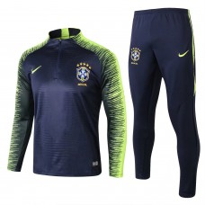 Brazil Royal Blue Stripe Training Soccer Tracksuit 2018/19