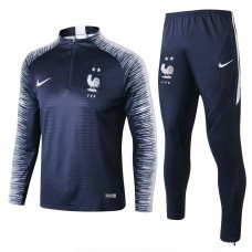 France Navy Stripe Training Technical Soccer Tracksuit 2018/19