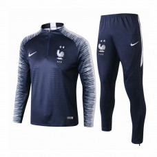 France Navy Stripe Training Technical Soccer Tracksuit 2018/19 - Kids