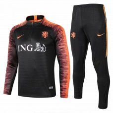 Netherlands Black Stripe Training Technical Soccer Tracksuit 2018/19