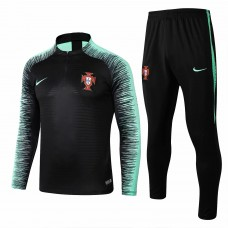 Portugal Team Black Stripe Tech Training Soccer Tracksuit 2018/19