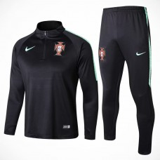 Portugal Team Black Tech Training Soccer Tracksuit 2018/19